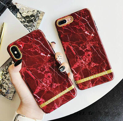 Red Marble Hybrid Rubber Case for iPhone X 8 7 6 6S Plus Cover Slim Shockproof