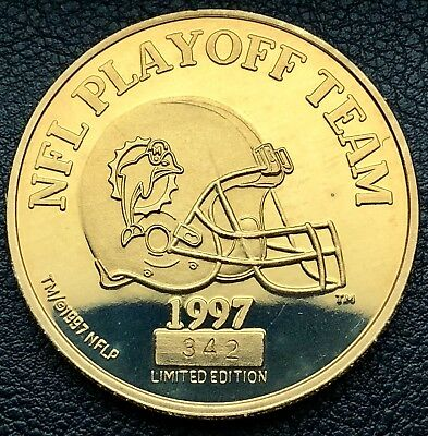 1997 Miami Dolphins NFL Playoff Team 24Kt. Gold Glided Coin (3145)