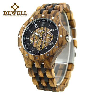 Bewell Wooden Watches for Men Multi Owl Dial Luxury Ebony Wood Wrist Watch Mens
