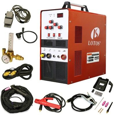 Lotos 200 Amp TIG/Stick Square Wave Inverter Welder with foot pedal for Dual
