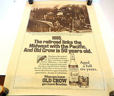 Old Crow Vintage Kentucky Straight Bourbon Whiskey 1885 Railroad Poster Advert