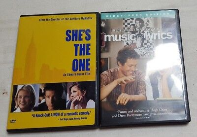 2 Romantic Comedy DVD Movies Lot SHES THE ONE & MUSIC & LYRICS DVD Movies