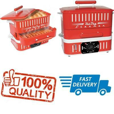 Hot Dog Steamer Electric Steamer and Food Bun Warmer Machine Red Retro Vintage