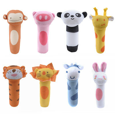 Baby Rattles BB Sticks Soft Cow Plush Doll Hand Catches Animal Toy Doll Soft AA