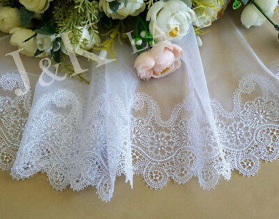 18 cm width Exquisite Snow White Embroidery mesh Lace Trim