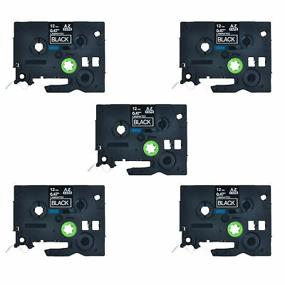 US STOCK 5PK White on Black Label Tape For Brother TZ 335 P-Touch Tze335 12mm