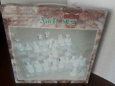 3 In 1 Game Set Glass Board Chess Backgammon Draughts In Box Board Table Games