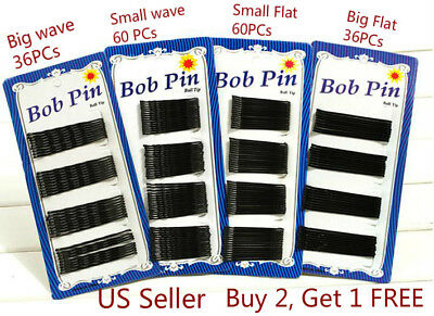36/60 Pcs Black Bobby Pins Hair Pins Grips Clips Wave Flat Salon Styling Bob Pin