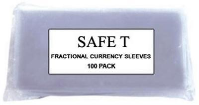 Fractional US / Small World Currency Vinyl Banknote 100 Sleeves 5.25x3 Safe T