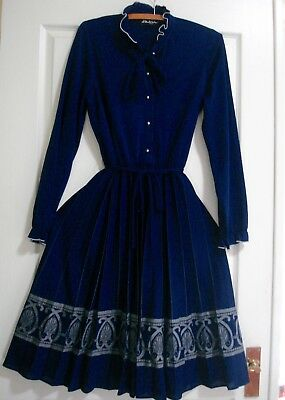 VINTAGE, 70's/80's, Navy Blue ORIGINAL ARC Design Dress with Pleated Skirt