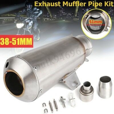 Universal Motorcycle Exhaust Muffler Pipe with Silencer Stainless Steel 38~51mm