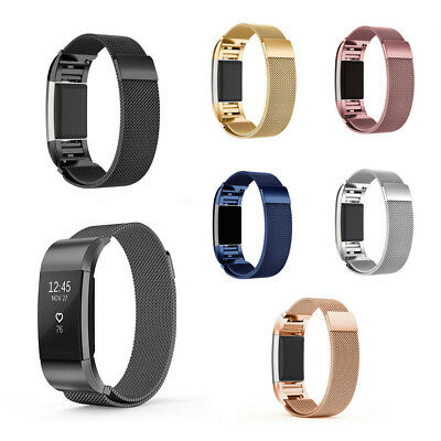 Magnetic Stainless Milanese Loop Wrist Band Strap For FitBit Charge 2  S / L New