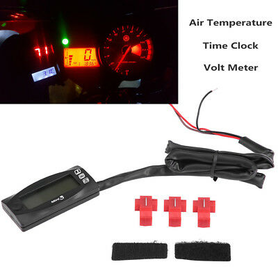 Motorcycle LCD Digital Air Temp Gauge Time Clock Volt Meter for Racing Scooter
