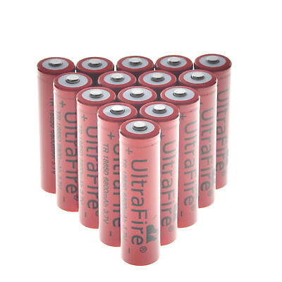 10 X 3.7V 18650 6800mAh Li-ion Rechargeable Battery For Flashlight Torch LED