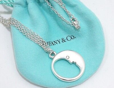 Tiffany & Co. Sterling Silver Man in the Moon Double Chain Necklace 16""
