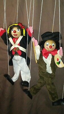Vintage Wooden Clown Puppets Marionettes Hand-Made French Soldier Painter 1950s
