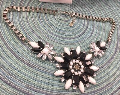 Napier Necklace Plastic & Glass Rhinestone Clear Black White Book Chain Huge