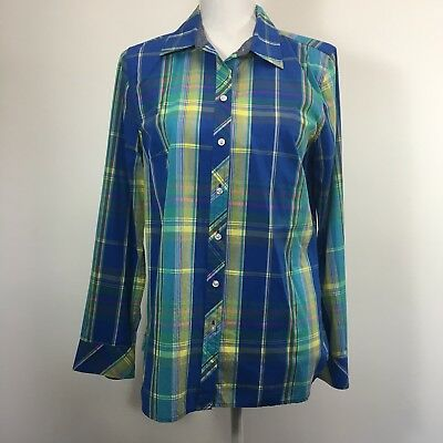 862ae095504ee3 Talbot's Petites Women's Plaid button up collar shirt Long tab Sleeve Size  mp