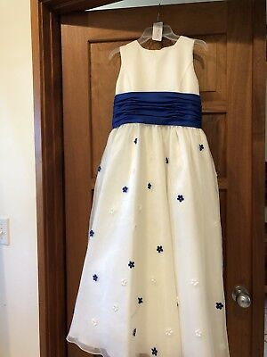 77974c632de Flower girl dress Ivory and Blue Satin with applied flowers. Size 12 from  Edens