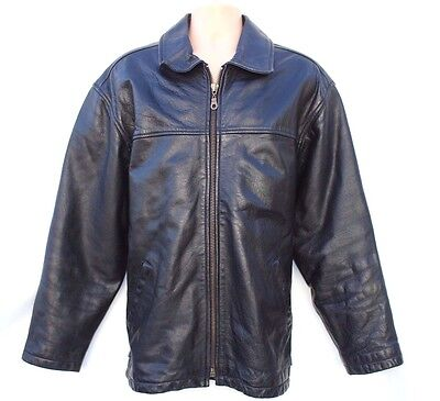 Men's Vintage Hip Length Biker  Black Thick 100% Real Leather Jacket Size XL