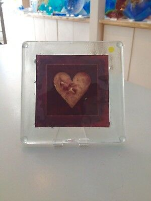 Genuine Jo Downs Bespoke Fused Glass Heart Teapot stand Direct From The Studio