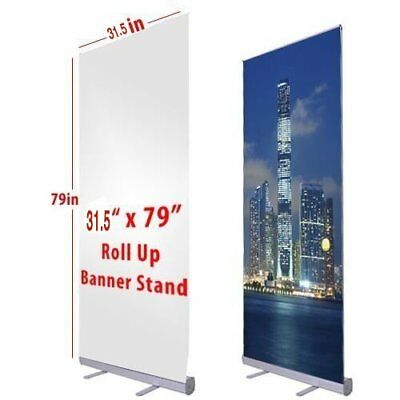 "Aluminum 31.5""x79"" Retractable Roll Up Banner Stand Pop Up Trade Show Display B"