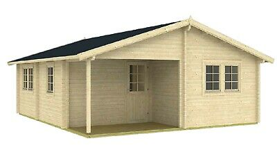 20ft x 24ft 3 room wood log garden guest house cabin DIY building kit