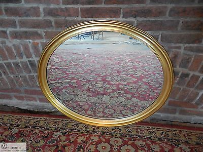 "Antique / Vintage Federal Style Gilt Gold Frame Oval Mirror 33""W x 28""H"