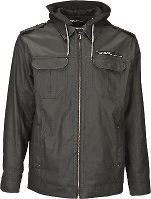 Fly Racing Men's Waxed Black Hooded Fleece Lined Casual Pit Jacket