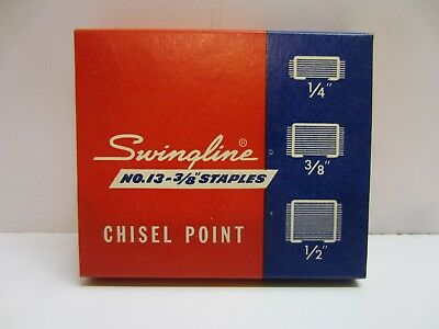 "Vtg Swingline No. 13 3/8"" High Carbon Wire Chisel Point Speed Staples 1000 ct"