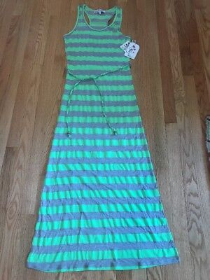 4357bf04d0164 Lagaci Womens Size Large Maxi Dress Lime Green Gray