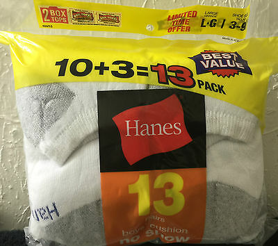 Hanes No Show Boys Socks Size Large 3-9 - 13 Pair--Back To School!! Ships Free!!