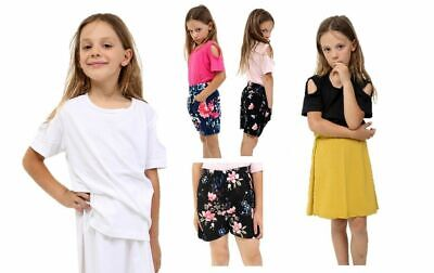 Girls Kids Shoulder-Cut Plain Top /Tops Printed Short /Shorts Skirts Set T-Shirt