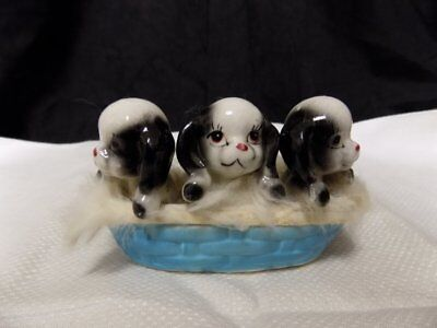 "Vintage Ceramic Basket Of Puppies~Cute~Fuzzy Edges~4"" X 3"""