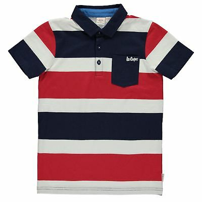 1159ab370 Lee Cooper Kids Stripe Polo Shirt Junior Classic Fit Tee Top Short Sleeve  Chest
