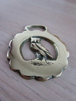Vintage/Antique Polished Horse Harness Brass depicts an Owl ornament medallion