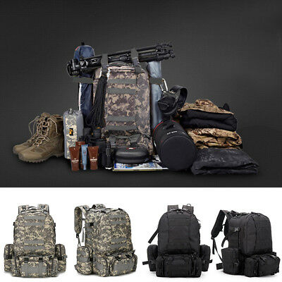55L Large Military Tactical Backpack Army Assault Pack Molle Gear Bug Out Bag