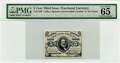 Fractional Currency 5 Cent Third Issue PMG Gem Uncirculated 65 Exceptional Paper