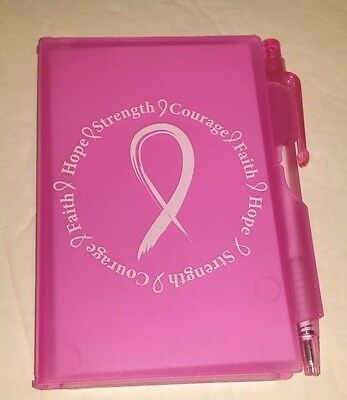Breast Cancer Awareness Compact Notepad with Pen Pink Ribbon Design #2