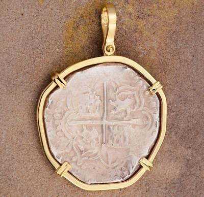 Authentic High Grade 4 Reales Treasure Cob Coin in 14kt Gold Pendant, 1598-1621
