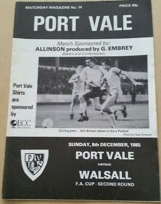 Port Vale v Walsall FA Cup 1985/1986 Football Programme