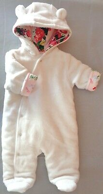 Stunning Ted Baker Baby Girls Soft Fluffy Snowsuit with Floral Detail 3-6months