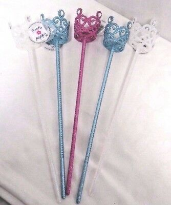 5 Pink Poppy Sparkly Crown Wands Pink Blue White