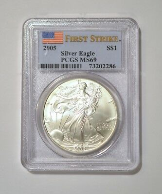 Gem 2005 American Silver Eagle ASE certified MS69 First Strike by PCGS