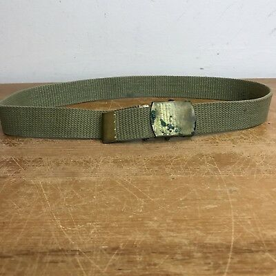 US Army Military Vintage 60s Unisex 30 OD Green Canvas Web Belt