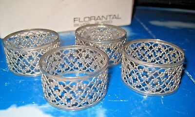 Set Of 4 Florantal Silver Plated Napkin Rings