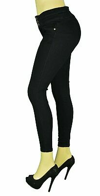 High Waist Stretch Push-Up Colombian Style Skinny Jeans in BLACK AT-718BK