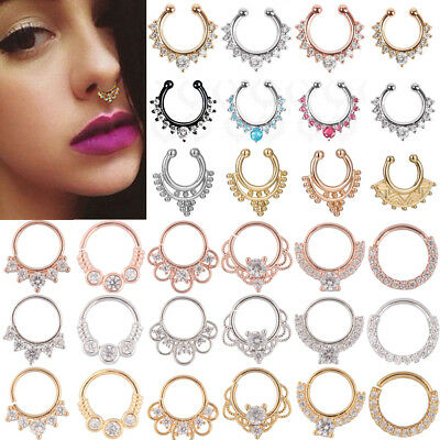 2 Pcs Fake Septum Clicker Crystal Nose Ring Non Piercing Hanger Clip On Jewelry