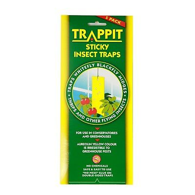 Trappit Yellow Sticky Insect Garden Trap - 5 Pack Hanging Traps