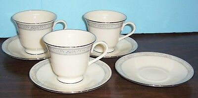 Lot Of 3 Lenox Charleston Cups And 4 Saucers   Never Used   Free Us Shipping